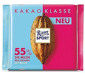 Ritter Sport Kakao Klasse 55% Die Milde aus Ghana 100 g
