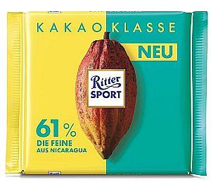 Ritter Sport Kakao Klasse 61% Die Feine aus Nicaragua 100 g