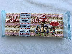 """Schaumwaffeln """"Die 5 Fruchtigen"""" zuckerfrei 88 g"""