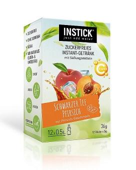 INSTICK Schwarzer Tee Pfirsich 12 Sticks a 3 g