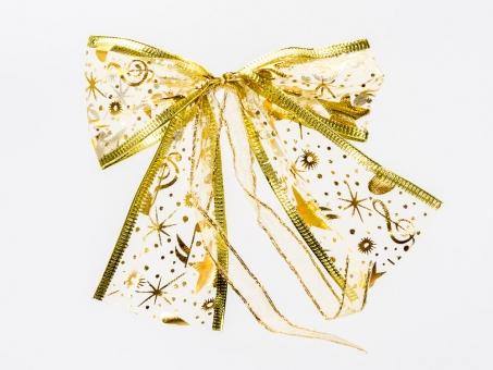 Goldfarbiges Organza-Weihnachtsschleife mit Goldrand und goldenen Sternen