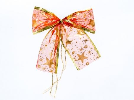 Rote Organza-Weihnachtsschleife mit Goldrand und goldenen Sternen