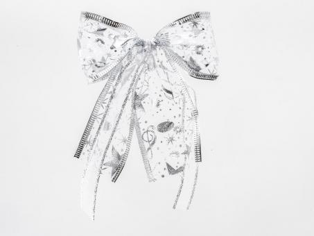 Weihnachtsschleife Silber aus Organza mit Silberrand und Silber Sternen